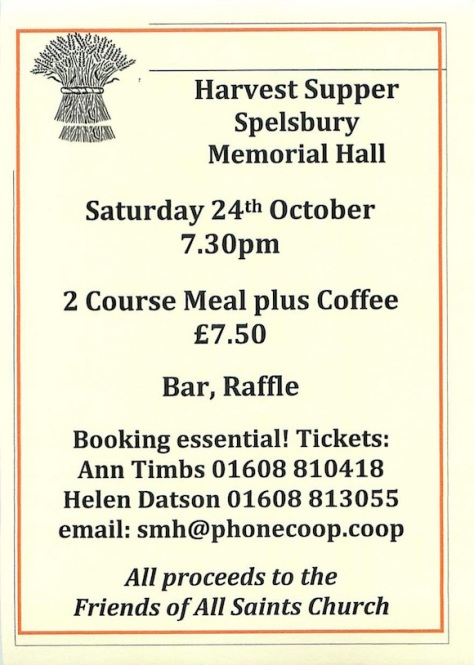 Spelsbury Harvest Supper